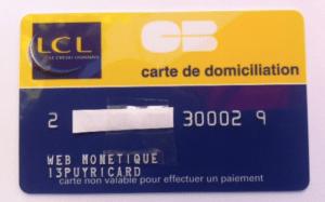Carte de domiciliation bancaire